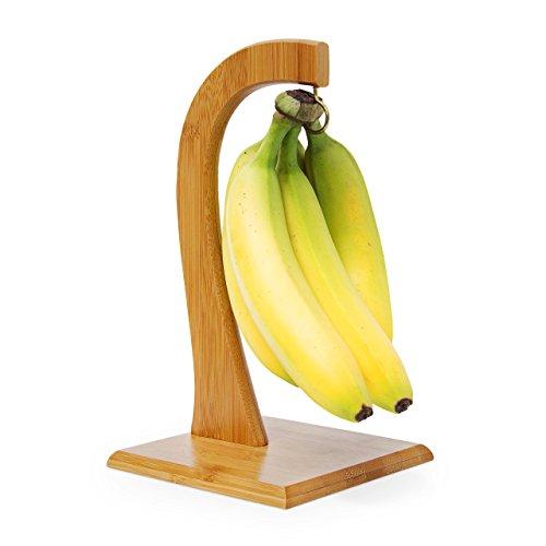 Relaxdays Bananenhalter SHELDON HBT 28,5 x 16 x 16 cm dekorativer Bananenständer aus Bambus für die Küche zum Aufhängen von Bananen, Weintrauben, Tomaten und anderem Obst stabiler Obstständer, natur (Fuß-halter)