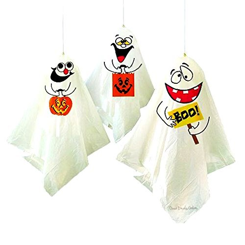 Spooky Hanging Ghost Halloween Decorations - Ideal fun for your Halloween Party, Fancy Dress Party, Tricks and Jokes, Scare your guests (3 Ghosts) by Good Deals Online (Spooky Fancy Dress)