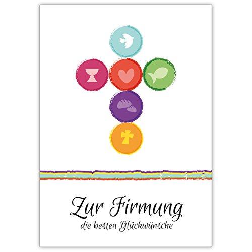 Frische, moderne Firmungs Karte mit Kreuz aus Symbolen: Zur Firmung die besten Glückwünsche