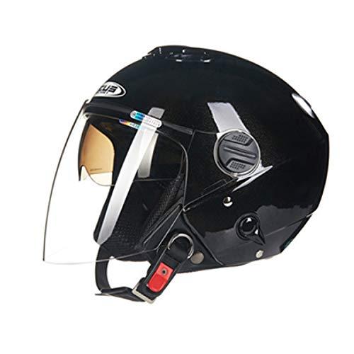 Yedina Halber Helm Motorrad Harley Double Lens Open Face Halber Helm 3 / 4DOT Zertifiziert Männer Und Frauen Fahrrad Roller Elektroauto Reiten Reisehelm,XXXL