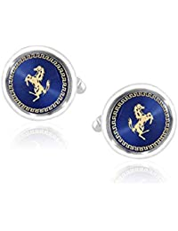 The Jewel Box Multicolor with Gold Horse Round Cufflink for Men Gift Box Corporate Diwali