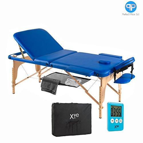Lettino da massaggio 3 zone legno portatile con rete e timer omaggio (blu)