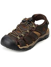 188eef373 Sandalias Hombres Verano Cuero Al Aire Libre Zapatillas de Casuales  Transpirable PU Cerrada Playa Zapatos