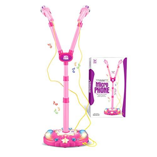 LVPY Karaokemaschinen Mikrofon Spielzeug, Standmikrofon Einstellbar mit 2 Mikrofon und Lichtshow Musik Spielzeug Geschenk für Kinder(Rosa)