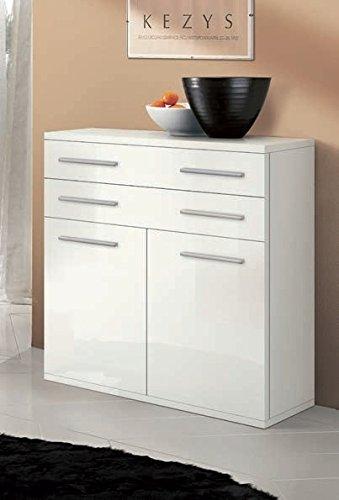 Meuble rangement 2 portes 2 tiroirs, modèle Nettuno, L 80 cm – Blanc laqué
