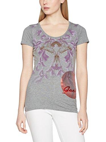 Guess T-Shirt Rn Ss Oriental Logo Grau Meliert