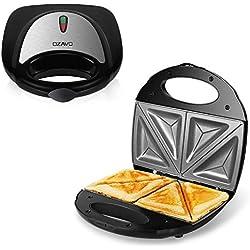 OZAVO Machine à Sandwiches, Sandwich grill, Sandwich Toaster, Appareil à Croque-Monsieur, Plaques Antiadhésives, Permet de préparer 4 Sandwiches, Puissance 750w, Voyants LED, Couleur Argent
