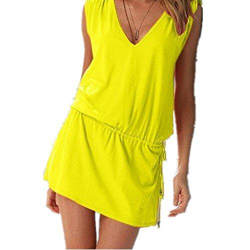 BININBOX Damen V-Ausschnitt SommerKleid Ärmellos Strandkleid Sichtbar Taille Beach Kleid12 Färben Auswählbar Gelb
