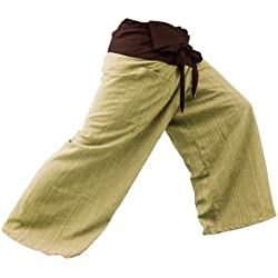 2 TONE Thai Fisherman Pants Yoga Trousers FREE SIZE Plus Size Cotton Drill Striped Brown
