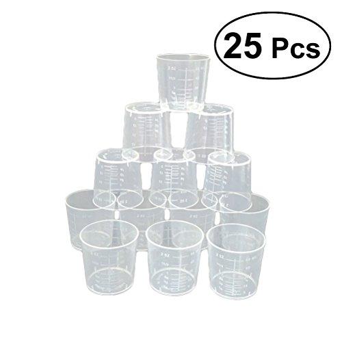 rosenice Maßnahme Tasse 25PCS 60ml Kunststoff Küche Tassen kochen Werkzeug-Küchenthermometer Tasse zu messen