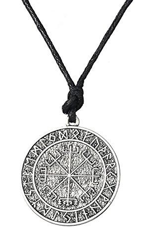 Vintage Viking protección runas Vegvisir brújula Collar con Colgante en Forma de Cuervo con talismán nórdicos Joyas para Hombres