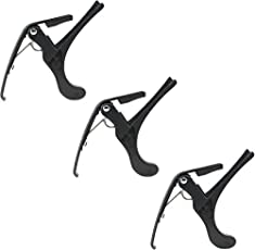 Mustang Handed Trigger Guitar Metal Capo Quick Change For Ukulele, Electric And Acoustic Guitars (Black)(Set Of 3)