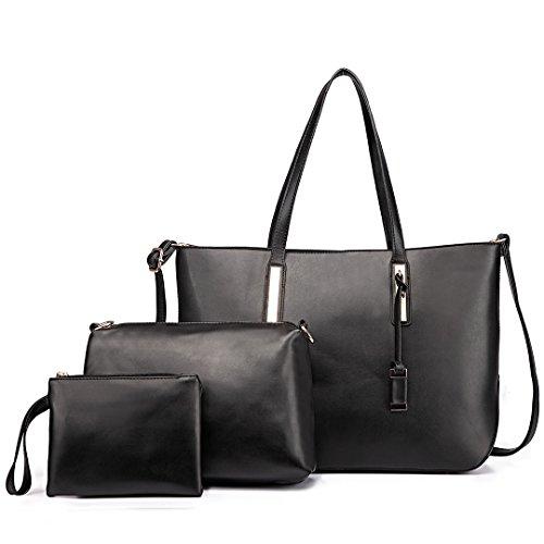 Miss LuLu Damen Handtaschenset Leder Schultertasche Shopper Hobo Totes Umhängetaschen Beuteltote Set 1435-1 Black