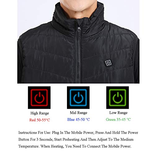 41UHPkxq4VL. SS500  - DZX Winter Heating Vest/Warm Clothing Electric Jacket,USB Heating-For Camping, Hiking, Skiing And Ice Skating,S