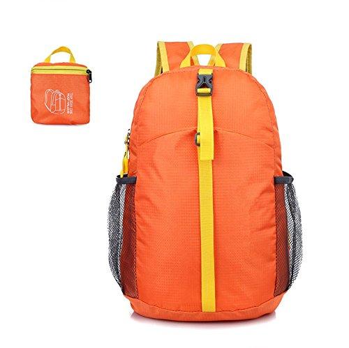ZYPMM Outdoor Sporttaschen wasserabweisende leichte Klapp-Reisetasche Klapp Rucksack untergebracht Orange