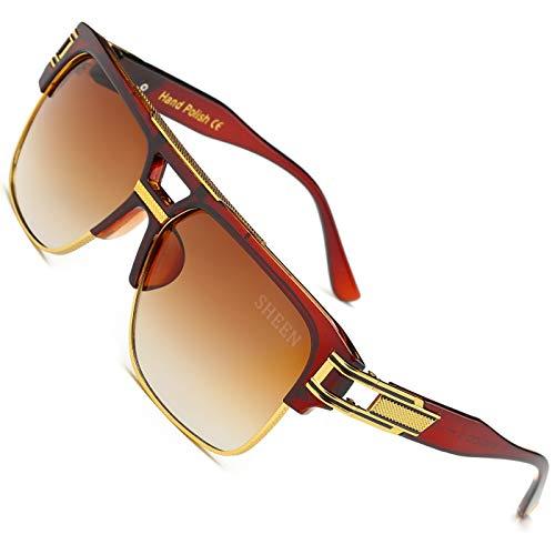 SHEEN KELLY Große Retro Oversized Sonnenbrille Metall Rahmen brille Square Spiegel herren damen Luxus Eyewear hälfte frame piloten Gold UV400 Braun