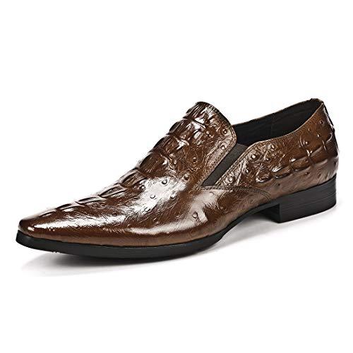 MERRYHE Mens Krokodil-Muster-Müßiggänger-echtes Leder-Geschäfts-Beleg auf formalen Schuhen Art und Weise Spitze Zehe Boots-Schuh,Brown-42 -
