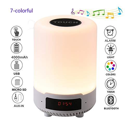 BDWN Nachttischlampe mit Bluetooth-Lautsprechern, Stimmungs-Lampen-Lautsprechern Farbe, die LED-Nachtlicht, beweglich Smart Touch Control-Tischleuchten mit Wecker, Geschenk für Kinder