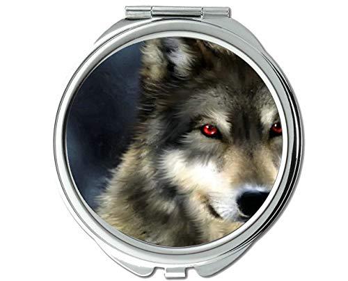 Yanteng Spiegel, Taschenspiegel, Animal Wolf Ray Taschenspiegel, 1 X 2X Vergrößerung