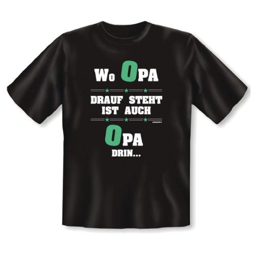 Spruch Wo Opa drauf steht ist auch Opa drin cooles lustiges Fun T-Shirt Farbe schwarz mit Motiv als Geschenk für Herren Schwarz