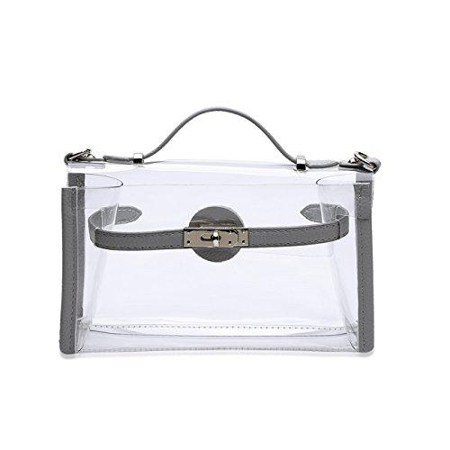 THEE Damen Handtasche Umhängetasche Tote Transparente Taschen Grau