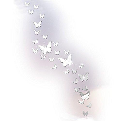 Pegatinas de pared con diseño de mariposa, acrílico, para salón, dormitorio y baño plateado Silver Mirror