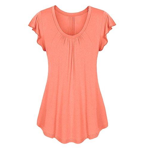 ESAILQ Damen Frauen Casual Kurzarm Stretch Falten Tunika Bluse Sommer Obteile mit Knöpfen V-Ausschnitt Ladies Shirt mit Gummizug Am Saum(XL,Orange)