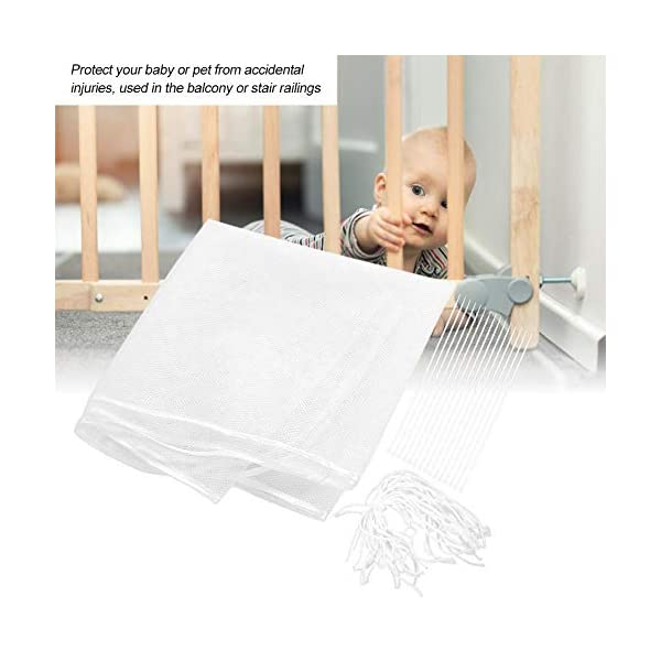 Children's Balcony Stairs Protection Net, 3 Meters Railing Safety Mesh for Baby Child Kids Pet Indoor Outdoor Zerodis 【Adjustable Design】This net can be adjusted to fit most heights, lengths, and types of railings, no worry its length, and you can connect two net, or fold the net to fit your railing the best 【Easy to Install】After tightening the mesh, put the plastic strips and tiestrings through the small holes in the mesh and lock the balcony poles. You can quickly fix them on the railings 【Multiple Application】The perfect stair net is suitable for indoor and outdoor use. Use the net for children's cribs, hallways, decorations, balconies, etc., to protect your baby or pet from accidental injuries, and to prevent toys, pets, and shoes from falling off the gap between the handrails 3