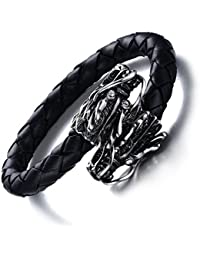 Vnox Hombres de acero inoxidable de cuero genuino Dragon Head Viking Brazalete Bracelet Punk Gothic Jewellery