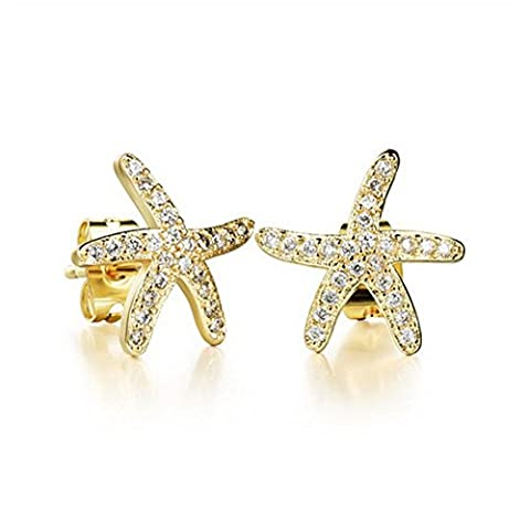 Charm pour femme en or blanc Boucles d'oreilles clous étoile de mer pour femme