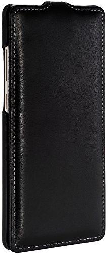 StilGut UltraSlim, housse Samsung Galaxy Note 8 en cuir élégant. Etui de protection Galaxy Note 8 à ouverture verticale et fermeture clipsée en cuir véritable, noir Noir nappa