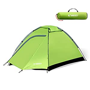 enkeeo camping tent 2 person compact portable folding waterproof backpacking with carrying bag, dome shape, green