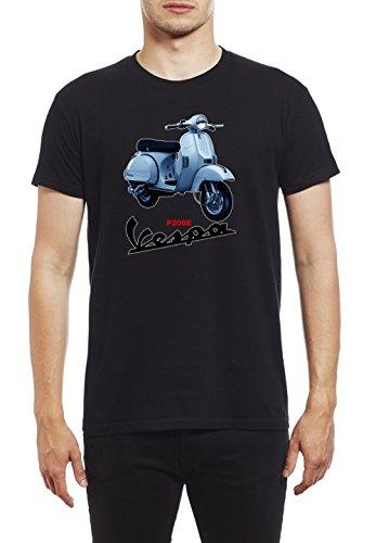 Northern Soul Vespa Scooter P200E. Camiseta para Hombre. Negro/Small