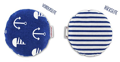 HOBEA-Germany Kirschkernkissen Wärmekissen Körnerkissen für Babys rund in verschiedenen Designs, Modell:Marine - Streifen - Runde Matratze Legen