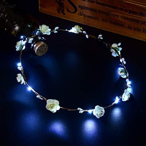 ulofpc LED Blume Krone Stirnband 10 LED leuchtend -