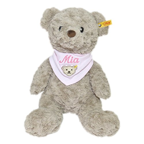 Steiff Honey Teddybär mit Wunschnamen auf Steiff Collection Halstuch Gr. II rosa bestickt 38 cm 113437 + 6600 Soft Cuddly Friends