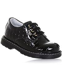 NERO GIARDINI - Zapato Oxford de cordones negro de charol, made in Italy, con elaboración efecto piel de cocodrilo, Niña, Niñas