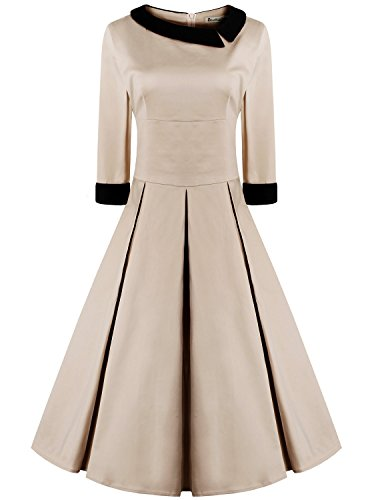 Frauen 50s Style 3/4 Ärmel Rockabilly Pinup Vintage Kleid S Khaki (Schärpe Khaki)