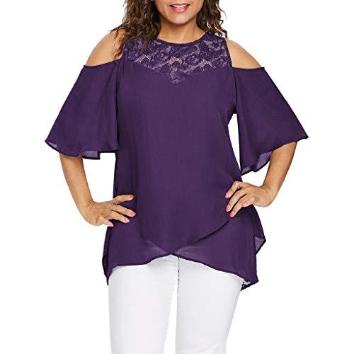 CAOQAO Plus Größe Damen O-Neck Kalt Schulter Solide Spitze Kurz Ärmel Reißverschluss Oberteile Bluse(XXL,Lila)