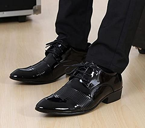 NSPX Costumes pour hommes Chaussures en cuir Pointed Lace Tattoo Chaussures de mariage Banquet Dress Oxford Shoes , 42 , 2090 black