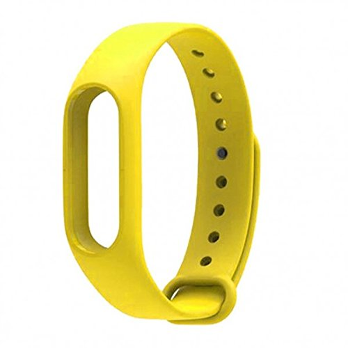 SpiderJuice Wearable Replacement Bracelet Strap Silicone Wrist Band Cover Case Compatible for Xiaomi Mi Band 2 (only strap, no tracker device)_Yellow  available at amazon for Rs.199