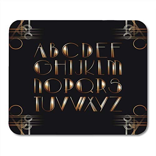 Deglogse Gaming-Mauspad-Matte, Party Black Great Gatsby Style Lettering Letter Glamour Mouse Pad,Desktop Computers Mouse Mats,