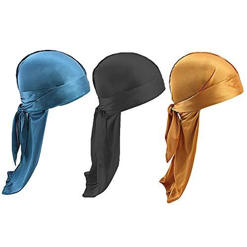 Unisex 2PCS/3 PCS Long Tail Silk Durag/360,540,720 Waves Headwraps Piratenhut Hip Hop Turban Cool Cap - Mehrfarbig - Einheitsgröße - Rag Biker Skull Cap