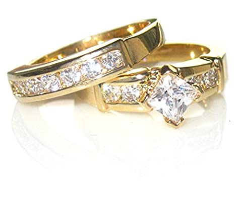 1.85ct Women's princess cut side setting Simulated Diamonds ring and band. Outstanding quality set. 24k gold