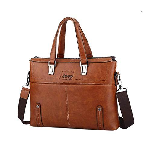 Hasun Laptop Shoulder Bag Grosse Kapazität Handtasche Herren Casual PU Leder Crossbody Bag Office Einfarbig Vintage Aktenkoffer