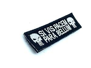 Si Vis Pacem, Para Bellum Punisher Noir Brodé Patch Airsoft Velcro