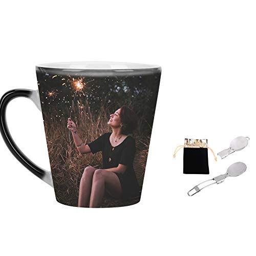 39d491c5451 Magic Mug Personalised Photo Mugs Heat Reactive Color Changing Coffee Tea  Cup Black Conical Ceramic Mug Personalized Picture Image Text Design Your  ...