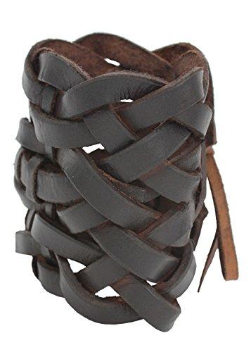 Leder LARP Flechtarmband im keltischen Stil Rollenspiel Zubehör Schmuck Handarbeit 9,5 cm breit Braun oder Schwarz (Braun) (Zombie Militär Kostüm)