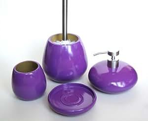 'Rio' violet Accessoire de Salle de Bain 4pièces: brosse WC et support, Distributeur de Savon, porte-savon, gobelet/Porte Brosse à Dents