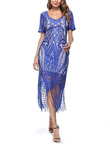 tro 20er Jahre Stil Flapper Kleider mit Fransen V Ausschnitt Gatsby Motto Party Kleider Damen Kostüm Kleid (20er Jahre Flapper Make Up)